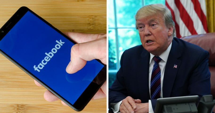 """Facebook on Friday removed a clip of President Donald Trump, right, speaking from its platform, claiming the video """"goes against our Community Standards on hate speech."""""""