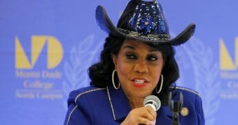 Democratic Rep. Frederica Wilson of Florida speaks at a Congressional field hearing on nursing home preparedness and disaster response on Oct. 19, 2017 in Miami, Florida.