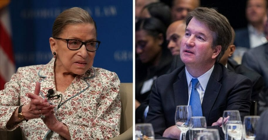 Supreme Court Justices Ginsburg and Kavanaugh, side by side images