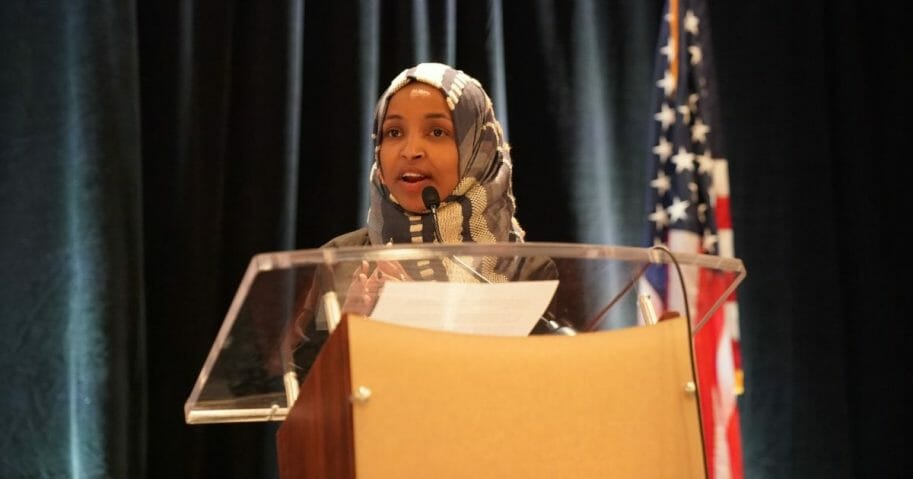 Minnesota Democratic Rep. Ilhan Omar speaks during a news conference, to address remarks made by President Donald Trump earlier in the day, at the U.S. Capitol in Washington, D.C., on July 15, 2019.