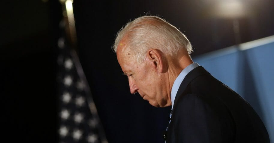 Democratic presidential candidate and former Vice President Joe Biden pauses as he speaks during the AARP and The Des Moines Register Iowa Presidential Candidate Forum at Drake University on July 15, 2019, in Des Moines, Iowa.