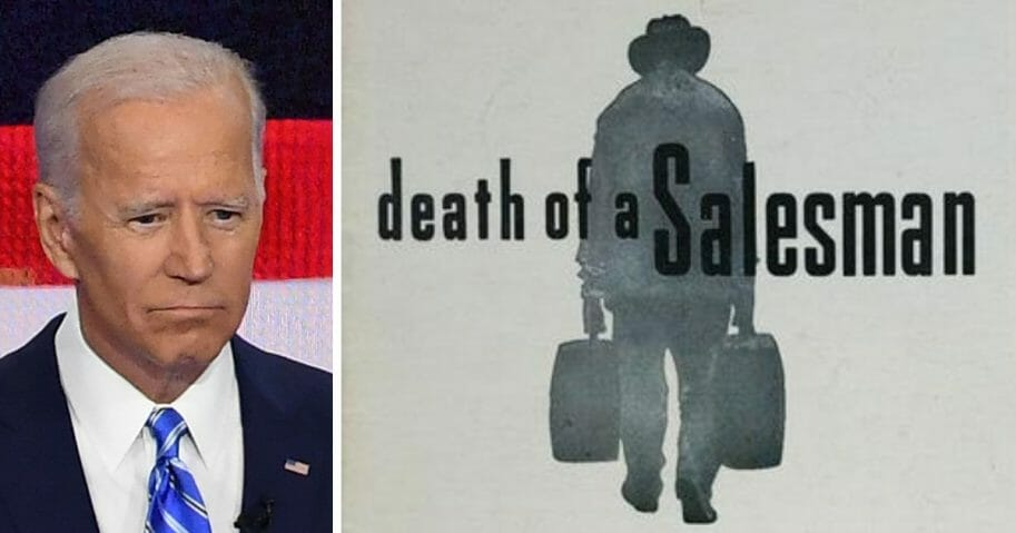 "Joe Biden, left, and ""Death of a Salesman"" art from Playbill, right."