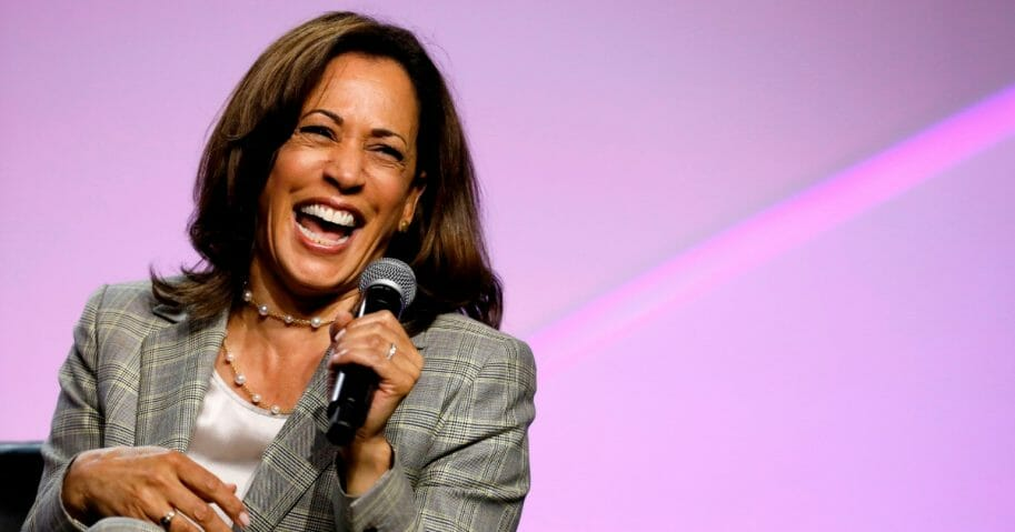 Democratic presidential hopeful Kamala Harris addresses the Presidential Forum at the NAACP's 110th National Convention at Cobo Center on July 24, 2019, in Detroit, Mich.