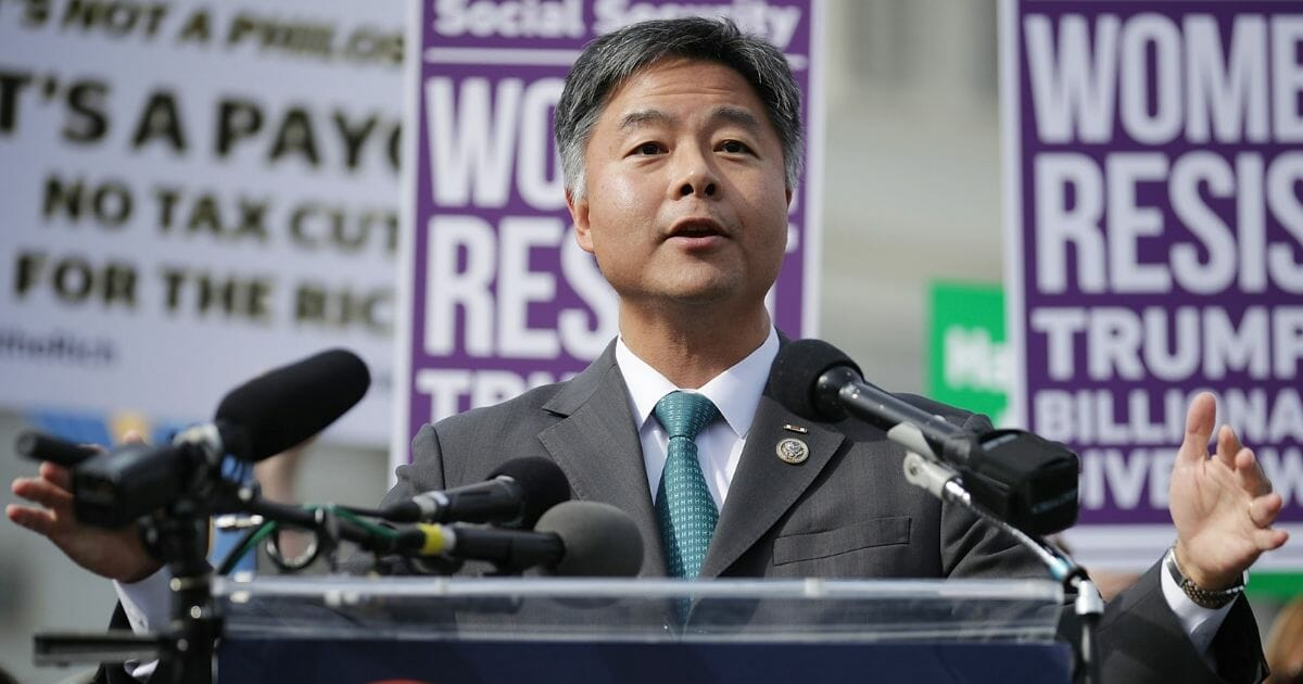 Rep. Ted Lieu addresses a rally against the Republican tax plan outside the U.S. Capitol on Nov. 1, 2017, in Washington, D.C.