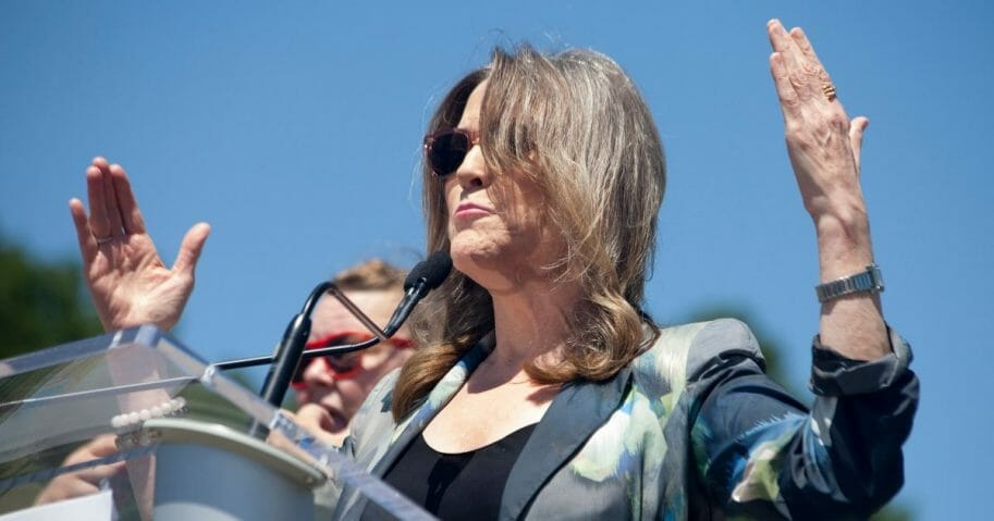 Author and presidential candidate Marianne Williamson speaks at the Capital City Pride Festival Meet the Candidates forum in Des Moines, Iowa, on June 8, 2019.