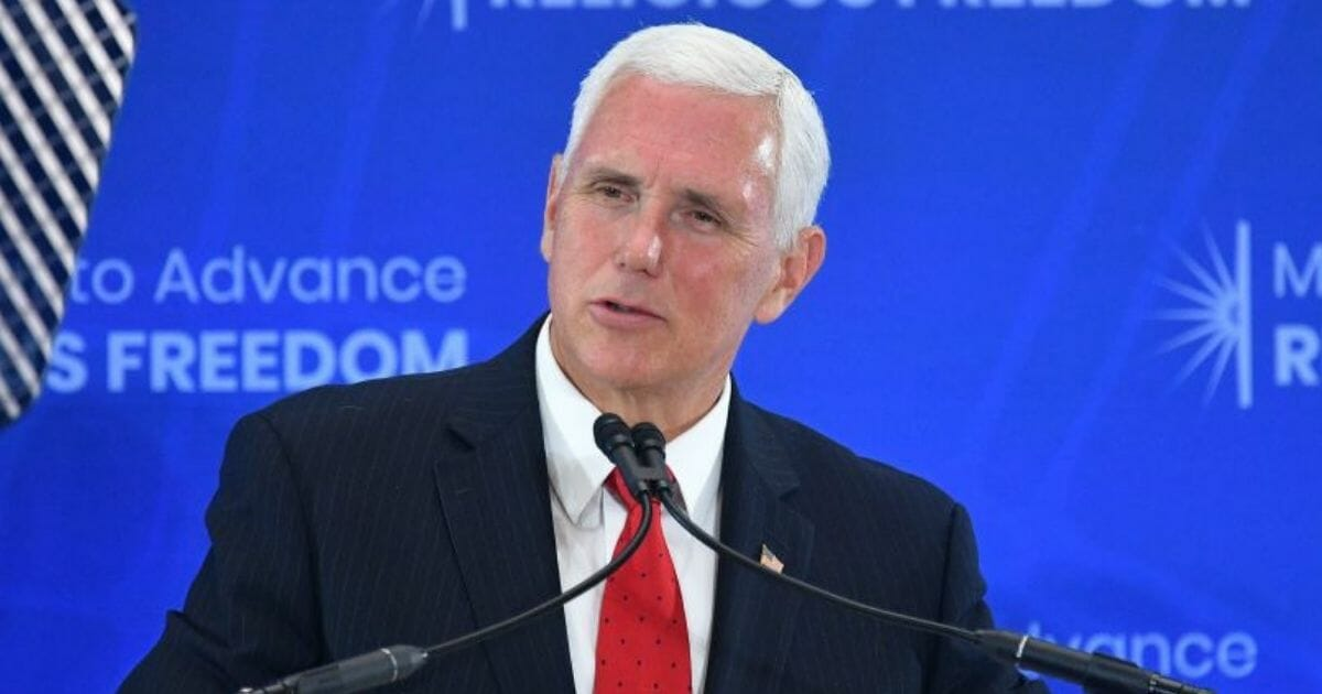 Vice President Mike Pence speaks during the second Ministerial to Advance Religious Freedom in Washington, D.C., on July 18, 2019.