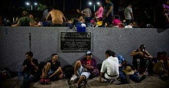 Central American migrants heading in caravan to the United States rest at park in Tapachula, Mexico.