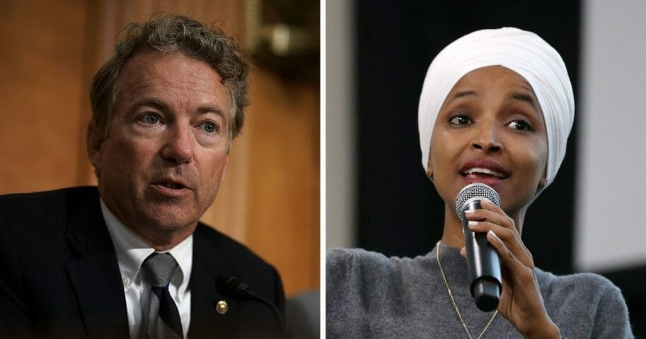 Opposite pictures of Rand Paul and Ilhan Omar speaking
