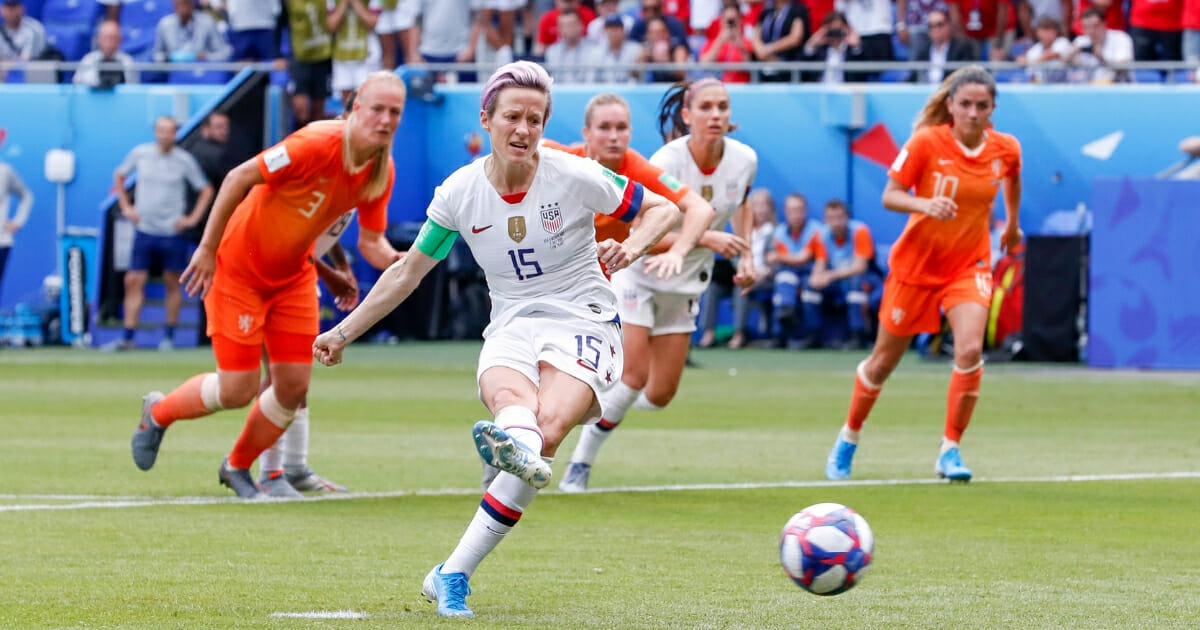 Megan Rapinoe of the U.S. women's soccer team takes a penalty shot during the World Cup final against the Netherlands.