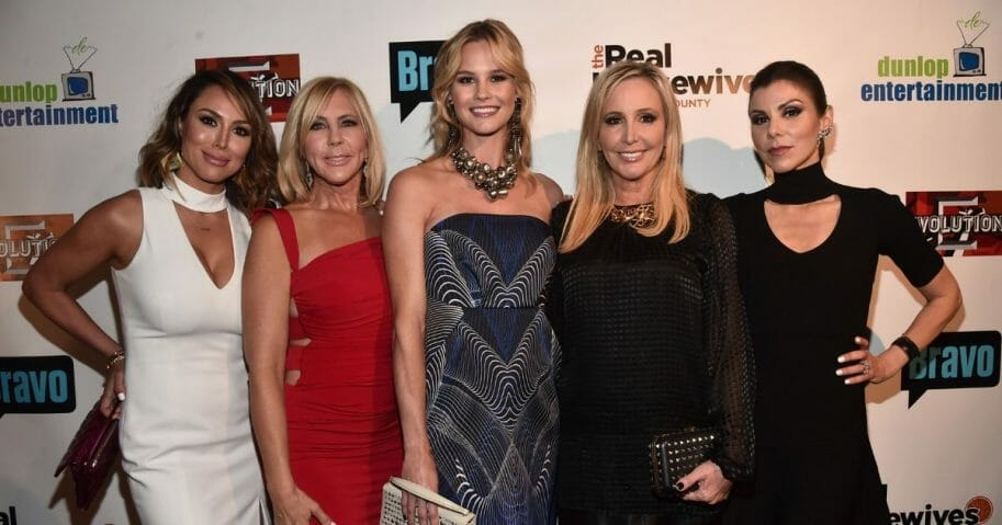 "TV persoanlities Kelly Dodd, Vicki Gunvalson, Meghan King Edmonds, Shannon Beador and Heather Dubrow attend the premiere party for Bravo's ""The Real Housewives of Orange County"" 10 year celebration at Boulevard3 on June 16, 2016, in Hollywood, California."
