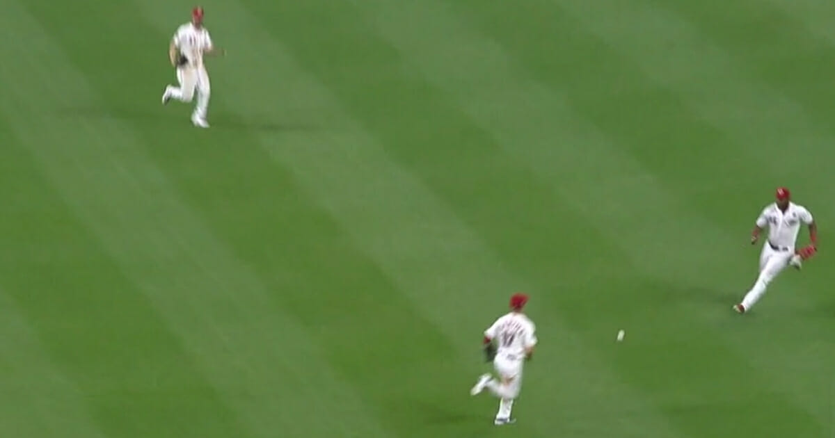 The St. Louis Cardinals' Edmundo Sosa hit a seeing-eye single to right field that dropped between three Cincinnati fielders and was fielded by Yasiel Puig.