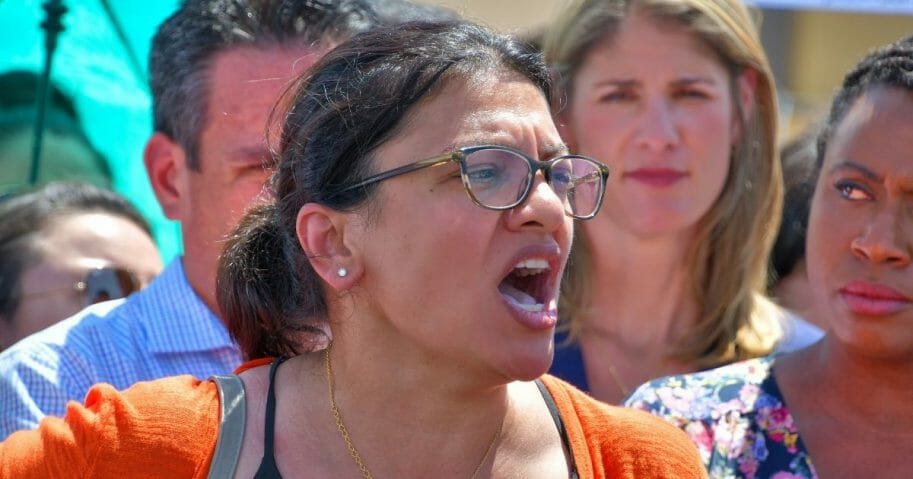 Rep. Rashida Tlaib speaks at the U.S. Customs and Border Protection station in Clint, Texas, on July 1, 2019.