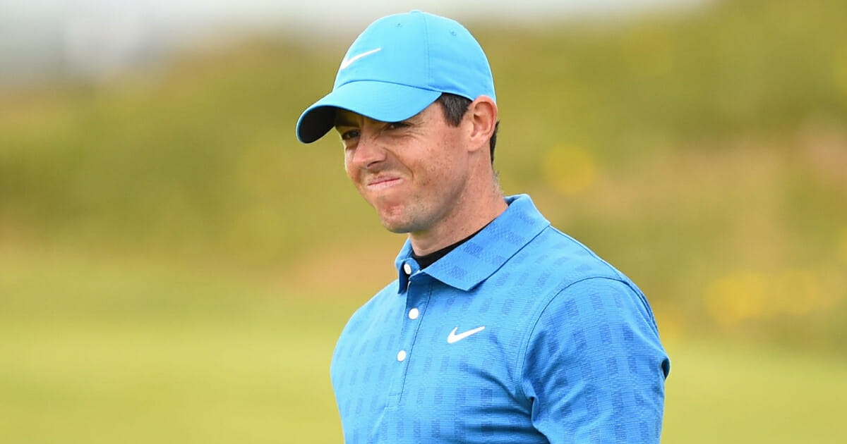 Rory McIlroy reacts on the 10th green during the first round of the British Open at Royal Portrush.