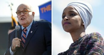 "Former New York City Mayor Rudy Giuliani, left, blasted Rep. Ilhan Omar, right, over controversial remarks she made about the 9/11 terror attacks in New York City, saying it would be hard to imagine comments that are ""more anti-American"" than her's."