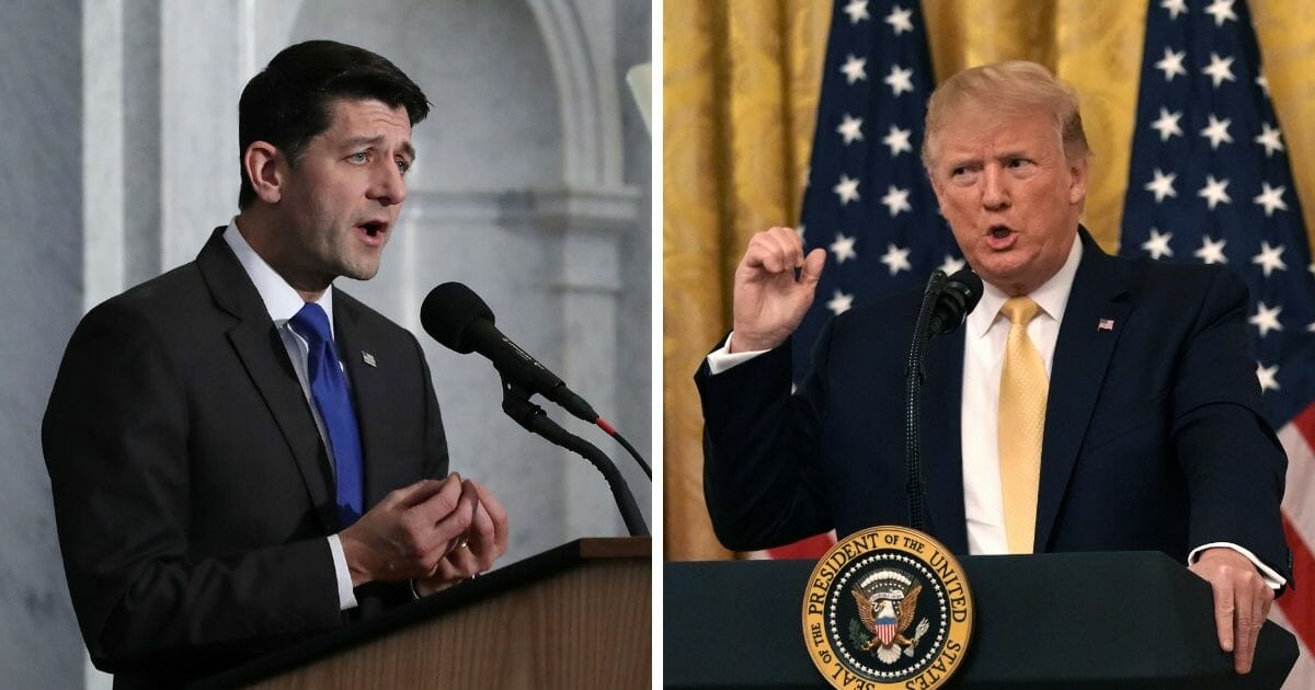 Paul Ryan speaking opposite a picture of President Trump speaking