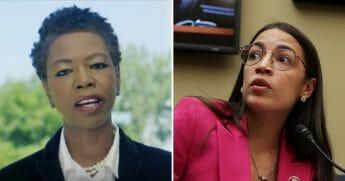 Scherie Murray, left, and Rep. Alexandria Ocasio-Cortez, right.