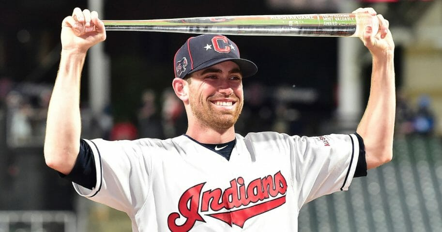 Shane Bieber of the Cleveland Indians poses with the MLB All-Star Game Most Valuable Player Award.