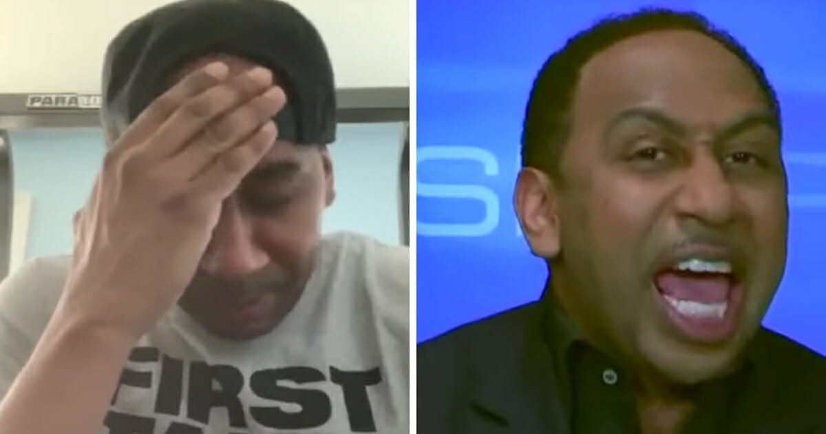 ESPN host Stephen A. Smith with his hand on his head, left, and shouting, right.