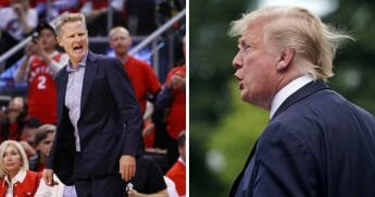 "Golden State Warriors head coach and frequent Donald Trump critic Steve Kerr, left, was back at this week, claiming that the Republican Party ""sold its soul"" to the president, right."