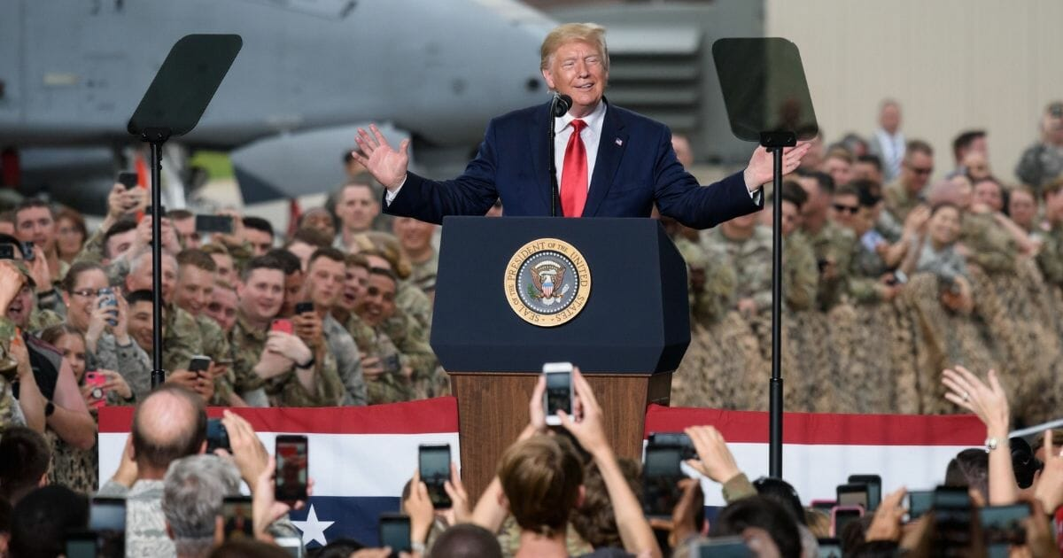 President Donald Trump speaks to military personnel and their families stationed in South Korea in Osan Air Base, south of Seoul, on June 30, 2019.