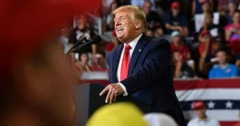 President Donald Trump speaks during his rally in Greenville, N.C., on July 17, 2019.