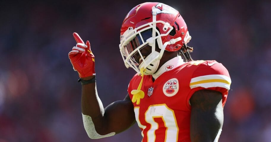 Tyreek Hill of the Kansas City Chiefs reacts after catching a pass during an Oct. 28, 2018, game against the Denver Broncos.