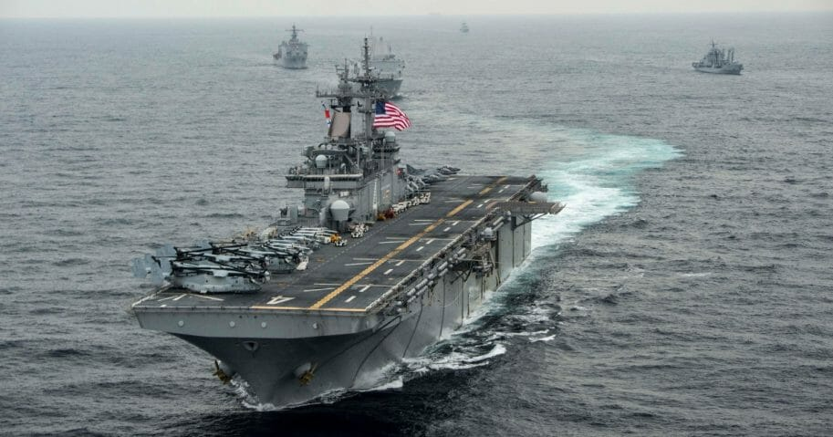 In this handout photo provided by the U.S. Navy, the amphibious assault ship USS Boxer (LHD 4) transits the East Sea on March 8, 2016 during Exercise Ssang Yong 2016.