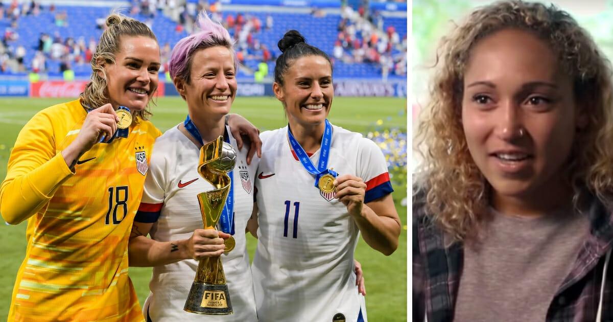 U.S. Women's National Team goalie Ashlyn Harris, left, with teammate Megan Rapinoe and teammate/fiancee Ali Krieger, and Christian soccer player Jaelene Hinkle, right.
