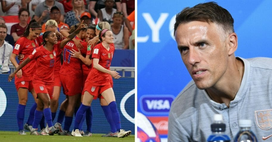 The U.S. women's soccer team celebrates a goal, left, and England head coach Phil Neville, right.