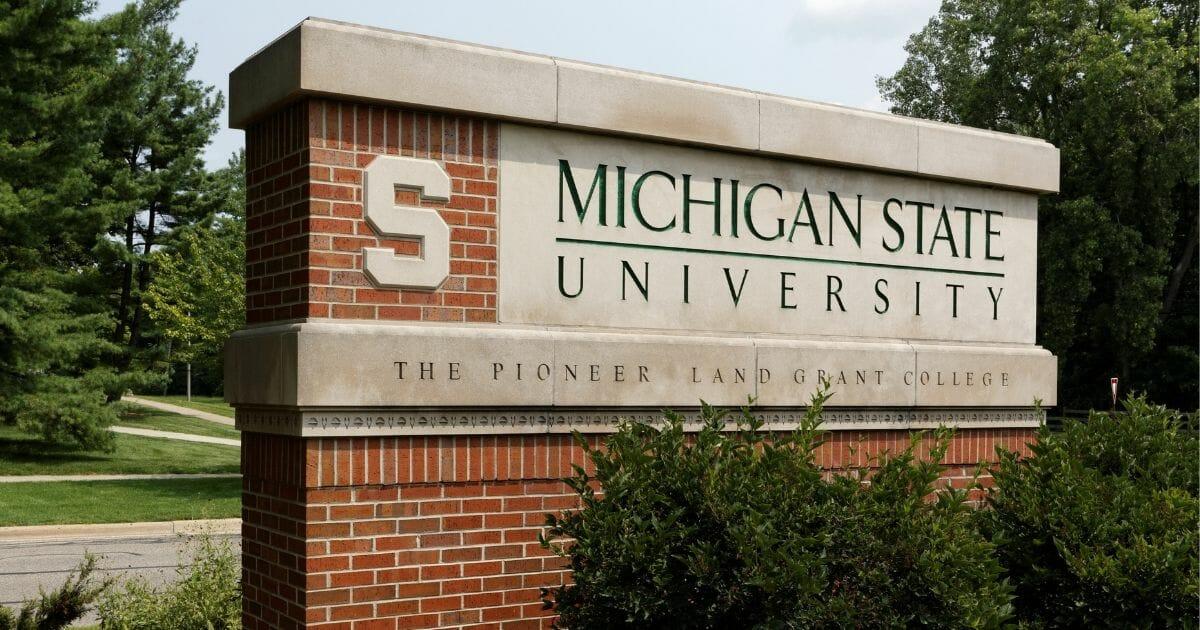Michigan State University sign.