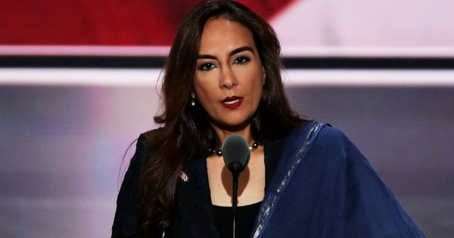 Harmeet Dhillon addresses the Republican National Convention in 2016.