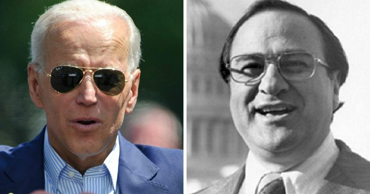 Former Vice President Joe Biden, left, and former Sen. James Abourezk, right.