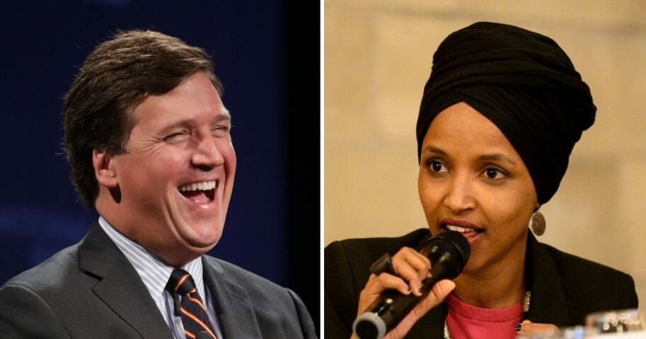 "Minnesota Rep. Ilhan Omar, right, has called Fox News host Tucker Carlson, left, a ""racist fool"""