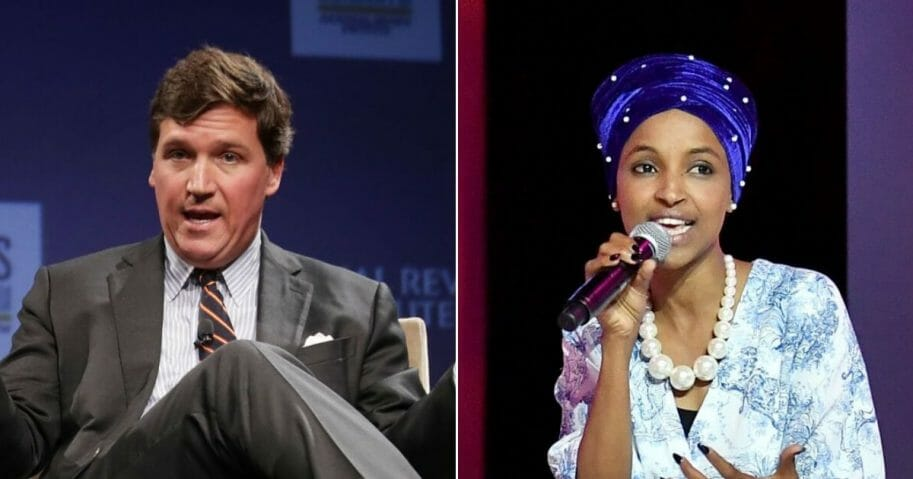 """Fox News host Tucker Carlson, left, has continued to call out Minnesota Rep. Ilhan Omar, right, for being """"anti-American"""""""