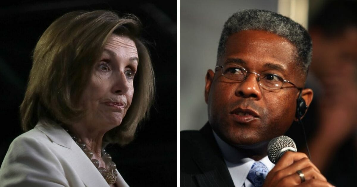 Retired Lt. Col. Allen West, right, has suggested House Speaker Nancy Pelosi, left, may be guilty of treason