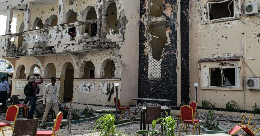The Asasey Hotel in Kismayo, Somalia, shows the severe damage from Friday's terrorist attack that killed 26.
