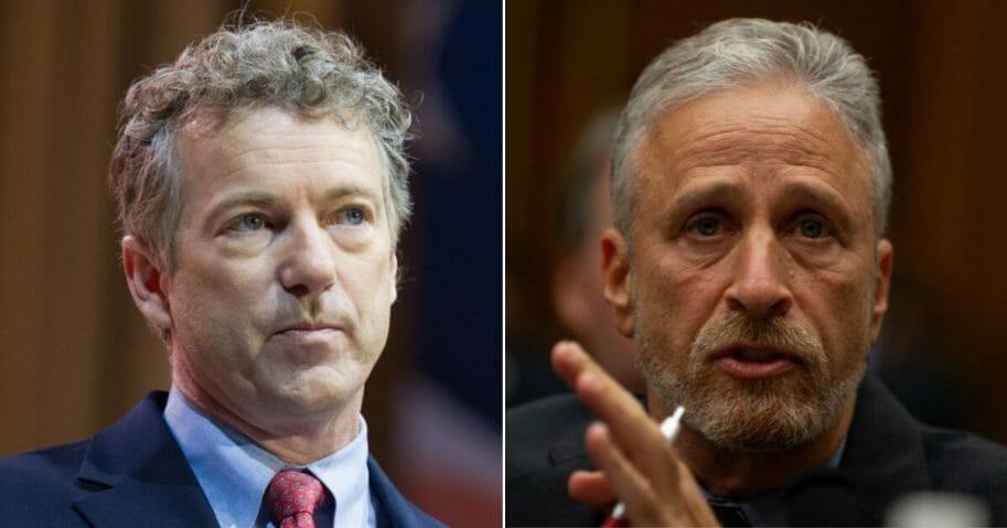 Kentucky Sen. Rand Paul, left, responded to criticism from comedian Jon Stewart