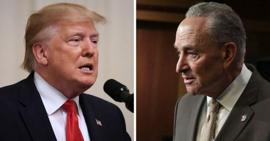 President Donald Trump, left; Senate Minority Leader Chuck Schumer, right.