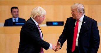 Incoming British Prime Minister Boris Johnson shakes hands with President Donald Trump at the United Nations in 2017.