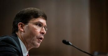 Secretary of Defense nominee Mark Esper testifies before the Senate Armed Services Committee during his confirmation hearing