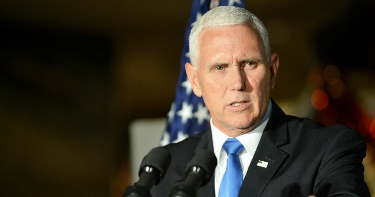 """Vice President Mike Pence delivers remarks at the DC premiere of the film, """"Apollo 11: First Steps Edition"""" at Smithsonian's National Air and Space Museum on May 14, 2019 in Washington, D.C."""