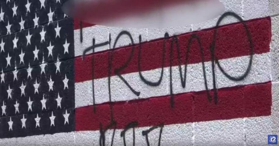 A vandalized flag in Phoenix, Arizona