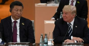 Chinese President Xi Jinping, left, and U.S. President Donald Trump attend a working session during the G20 summit in Hamburg, Germany, on July 7, 2017.