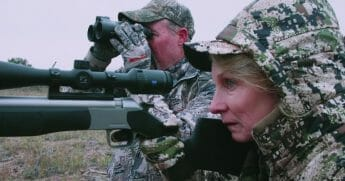 The Rocky Mountain Elk Foundation's hunting ad featured lifetime hunter Nancy Hadley, right