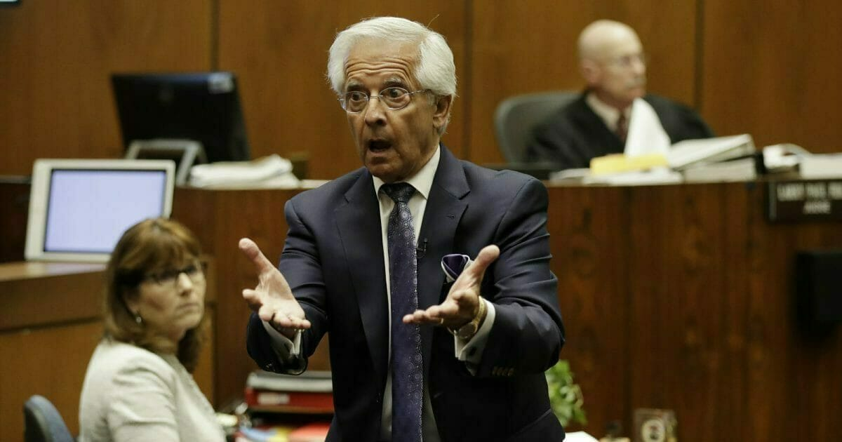 Michael Gargiulo's attorney Dan Nardoni addresses the jury during closing arguments in the trial of People vs. Michael Gargiulo Wednesday, Aug. 7, 2019, in Los Angeles. Closing arguments continued Wednesday in the trial of an air conditioning repairman charged with killing two Southern California women and attempting to kill a third.