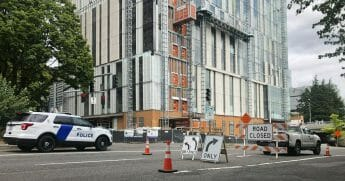 A road closure sign is seen in downtown Portland, Oregon, Aug. 16, 2019, in advance of a rally as the city prepares for crowds.
