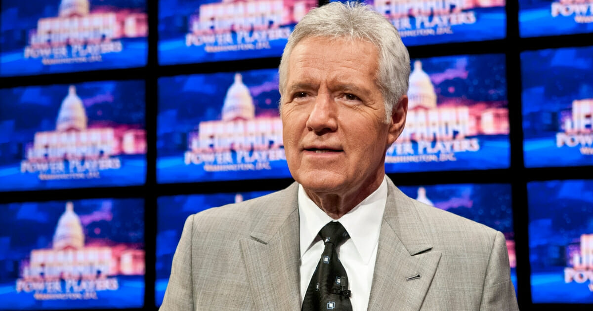 """Alex Trebek speaks during a rehearsal before a taping of """"Jeopardy!"""" at DAR Constitution Hall on April 21, 2012, in Washington, D.C."""