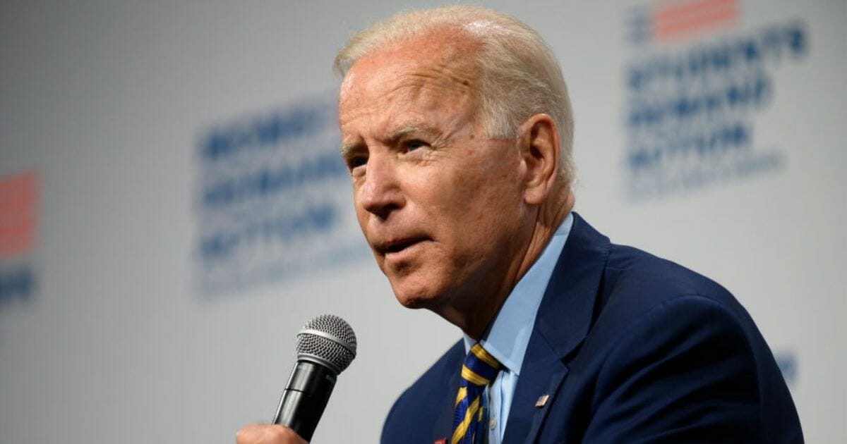 Democratic presidential candidate and former Vice President Joe Biden speaks on stage at the Iowa Events Center on Aug. 10, 2019, in Des Moines.