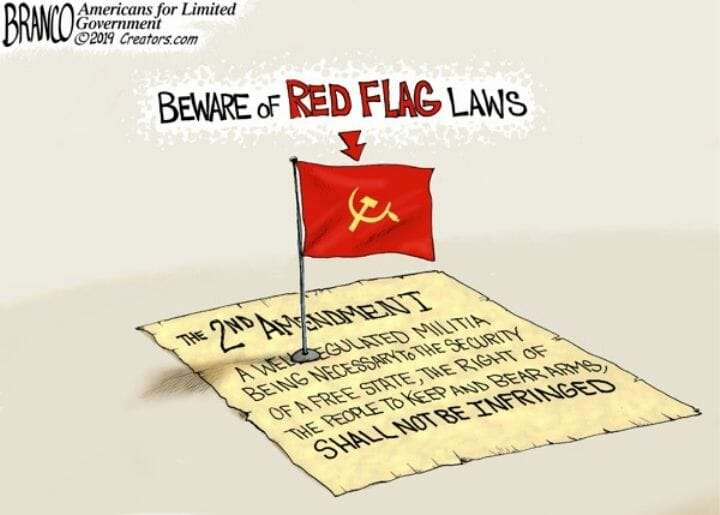 The second amendment with a red flag on it