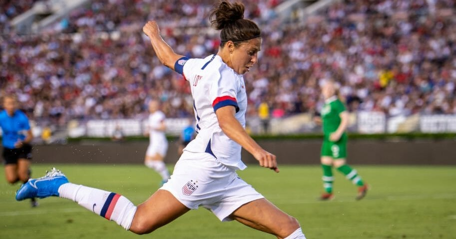 Carli Lloyd #10 of the United States takes a shot during the United States' international friendly match against Ireland at the Rose Bowl on Aug. 3, 2019, in Pasadena, California.